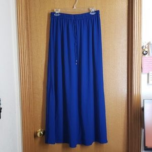 Chic Royal Blue Zara Basic Maxi Skirt w/slit sz M